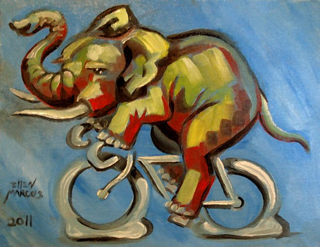 Elephant on a bike